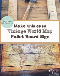 Make this easy Vintage map pallet sign! DIY picture tutorial with step by step instructions to show you how. Inexpensive and simple project.