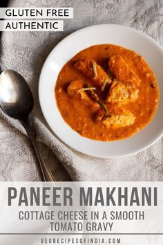 Paneer Makhani Recipe with step by step photos. Succulently cooked cottage cheese cubes in a smooth sauce of tomatoes and cream, which is lightly spiced with a hint of tang and sweetness. Easy Vegetarian Curry, Vegetarian Recipes Easy, Veg Recipes, Spicy Recipes, Curry Recipes, Indian Food Recipes, Dinner Recipes, Spicy Curry Recipe, Paneer Makhani