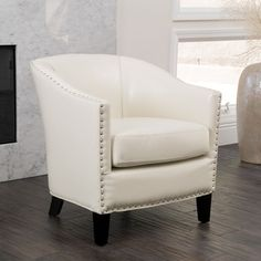 Christopher Knight Home Austin Ivory Leather Club Chair - Overstock™ Shopping - Great Deals on Christopher Knight Home Living Room Chairs