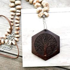 Hexagon Yoga Tree Carved Necklace - Soothi | Style With Substance