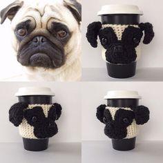 Pug mug. Available at HookedbyAngel.etsy.com #hookedbyangel