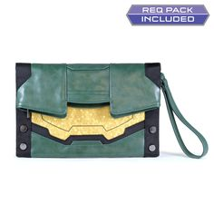 """Master Chief Laser, up."" Halo Master Chief Clutch Purse with DLC Req Pack •Officially Licensed •Faux leather with nylon accents •Inspired by The Master Chief's armor •Top fold zip main compartment •S"