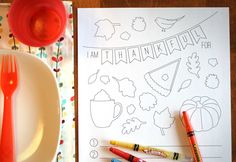 Love this free coloring page and thankful list for the kid's Thanksgiving table! #thanksgiving #printables