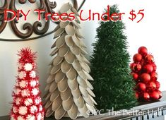 Christmas trees to make under five dollars. Made using dollar store stuff! #holiday #crafts #decor #TheBetterHalf