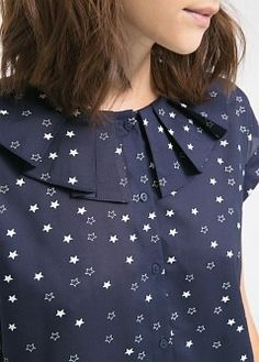 Pretty navy blouse with stars by mango