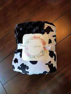 Minky Blanket  Cow Print Black Rose Cuddle Swirl  Baby