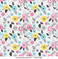 Amazing Seamless Floral Pattern With Bright Colorful Flowers And Leaves On  A Blue Background. The Elegant The Template For Fashion Prints. Modern Fu2026