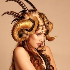 Rams Horn Headdress - Love the idea of other elements incorporated in horns on monster's head. Almost like a headdress. Ok with flowers and whatnot. I like the idea of the beast having some feminine qualities and the girl having some masculine ones. Burning Man 2016, Mode Costume, Ram Horns, Fantasy Makeup, Hair Art, Headgear, Look Cool, Headdress, Costume Design