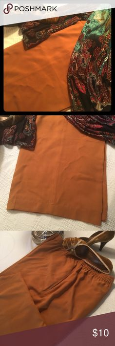 2X 100% Silk Pants Deep Amber Coldwater Creek Finally, something other than black, navy, and brown! This pair of beautiful dark amber colored pants are all-silk. They come from Coldwater Creek and have an elastic waist for a comfortable fit in all situations. Coldwater Creek Pants Trousers