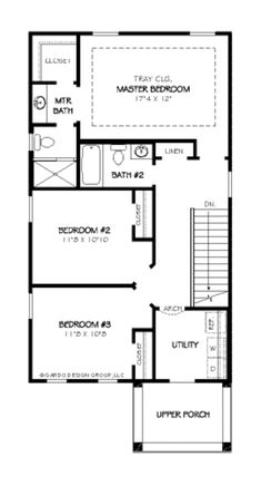Traditional Style House Plan - 3 Beds 2.5 Baths 1871 Sq/Ft Plan #424-209 - Houseplans.com Traditional House Plans, Traditional Design, Narrow Lot House Plans, Traditional Bathroom, Building Plans, Square Feet, Homesteading, Floor Plans, Flooring