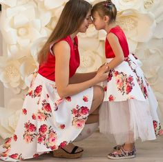 matching mother daughter dresses red floral print mommy and me outfit shorter front longer back dress for mother and daughter family look