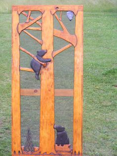 Love these handmade screen doors for a cabin!    http://www.adirondackrusticinteriors.com/catalog/product/carved-screen-door-Climbing-Bear-Cubs.cfm