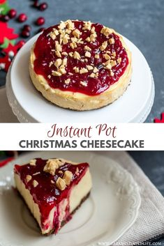 This recipe for Instant Pot white chocolate and cranberry cheesecake is the perfect festive dessert this Thanksgiving and Christmas!