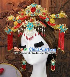 Chinese Handmade Classical Cloisonne Hair Accessories Ancient Wedding Phoenix Coronet Hairpins for Women Renaissance Gown, Chinese Hairpin, Korean Jewelry, Chinese Clothing, Ancient Jewelry, Hair Sticks, Costume Makeup, Hair Jewelry, Headdress