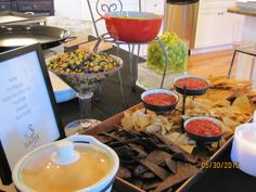 Chips and Salsa Bar ~ Variety of Salsas...From Spicy to Fruity, Queso Fundido, Guacamole, etc...
