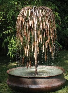 Weeping Willow Copper Tree Water Feature - Weeping Willow Copper Tree Water Feature Created by an award winning artist, this piece (along with - Large Water Features, Indoor Water Features, Water Features In The Garden, Garden Features, Diy Water Feature, Backyard Water Feature, Garden Water Fountains, Water Garden, Outdoor Fountains