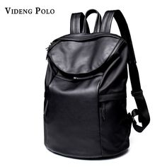 43dbb2af85 VIDENG POLO Men Large Capacity Black soft PU Leather Backpack Leisure travel  college students Laptop knapsack bags Male Mochila-in Backpacks from  Luggage ...