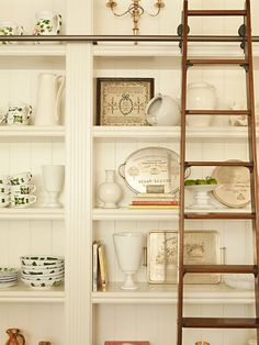 Rolling Ladder, Shelves, Dishes, Display, White, Rustic Modern, Country