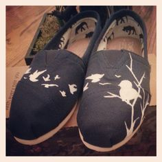 Hand painted Toms with birds