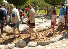Good idea..incorporate the sensation path into the labyrinth...Barefoot Parks and Sensation Paths | Playscapes