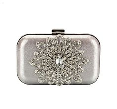 Glitter Sunflower Rhinestone Silver Evening Box Clutch Bags Purse Wedding Handbag ** Want to know more, click on the image. Note: It's an affiliate link to Amazon