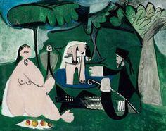 PICASSO Pablo (1881-1973), Le déjeuner sur l'herbe, 1960, huile sur toile, 114x146 cm, Londres, Nahmad Gallery. //art plastique //détournement de Le Déjeuner sur l'herbe de Edouard Manet