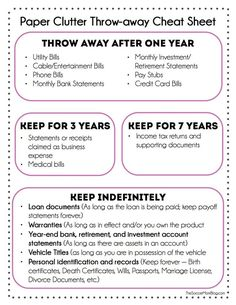 Paper clutter throw away cheat sheet - Dedicated to procrastinators and lazy people everywhere.