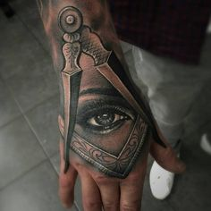 Hand Tattoos For Guys, Cool Tattoos, Tatting, Skull, Illuminati, Instagram Posts, Tattoo Ideas, Eye, People