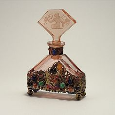Vintage 1920s Hoffman Jeweled Czech Perfume Bottle with intaglio crystal stopper, Egyptian style enamel an jeweled metalwork, matching front and back
