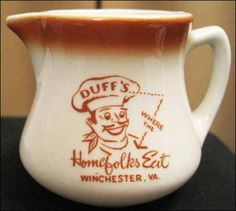 Duff's Where The Homefolks Eat - Winchester, VA - Wellsville China 1950s to early 1960s.