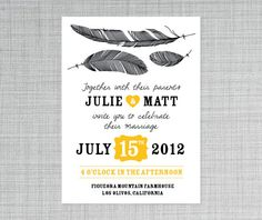 Feather Me with Love Wedding Invitation on Etsy, $40.11 AUD