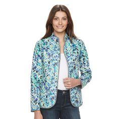 Petite Napa Valley Reversible Quilted Jacket, Women's, Size: 12 Petite, Med Blue