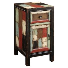 """Features:  Distressed: -Yes.  Base Material: -Solid Wood. Dimensions:  Overall Height - Top to Bottom: -25"""".  Overall Width - Side to Side: -13.25"""".  Overall Depth - Front to Back: -16"""".  Overall Prod"""