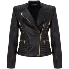 Balmain Leather Biker Jacket ($3,600) ❤ liked on Polyvore featuring outerwear, jackets, zipper jacket, motorcycle jacket, moto zip jacket, real leather jacket and biker jacket