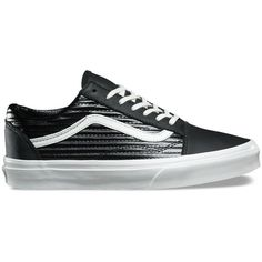 Vans Moto Leather UA Old Skool ($65) ❤ liked on Polyvore featuring shoes, sneakers, black, black leather shoes, black trainers, leather shoes, black sneakers and vans shoes