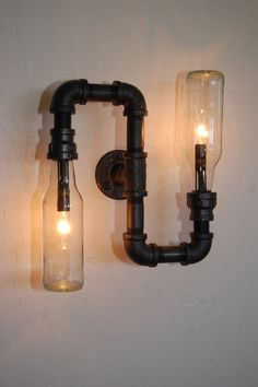 Industrial Wall Vanity Light steampunk pipe lamp by RoscaLights. This is really cute!