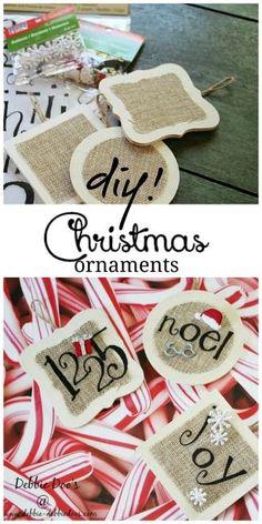Christmas burlap and wood ornaments diy. #debbiedoos