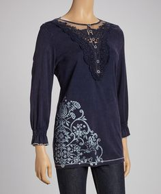Take a look at this Navy Blue Embellished Henley by IDI by Matthew