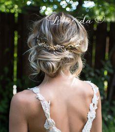 Boho Gold Hair Halo Hair Vine Flower Hair Crown Grecian Gold
