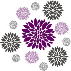 Flower wall decal - Set of 12 Flower Wall Decals - Dahlia Flower Decal - Nursery Wall Decal - Girls Wall Decal - teen decal - flower decal Flower Wall Decals, Nursery Wall Decals, Vinyl Wall Decals, Vinyl Room, Wall Stickers, Large Flowers, Colorful Flowers, Purple Flowers, Dahlia Flower