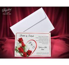 invitatie nunta cu trandafir rosu