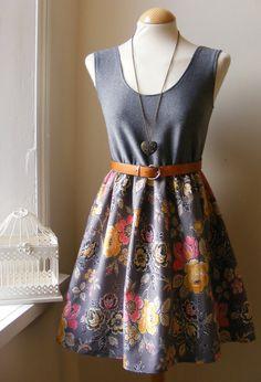 Jennifer Lilly Handmade Grey Rose Cotton by jenniferlillydesigns
