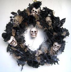 Halloween Wreath w/ Skulls, Roses, Spiders & More.. $75,00, via Etsy.