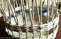 .:Jotkaa:w wolnej chwili: papierowa wiklina i koraliki: Papierowa wiklina: kurs- ozdobne zakończenie koszyka