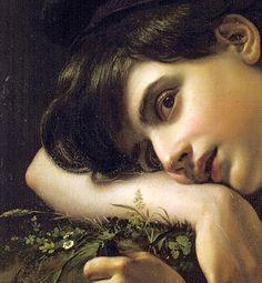 a young gardener (detail), Orest Kiprensky, (1782-1836)
