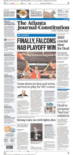 "Atlanta Journal-Constitution punctuates Falcons win with ""FINALLY"""