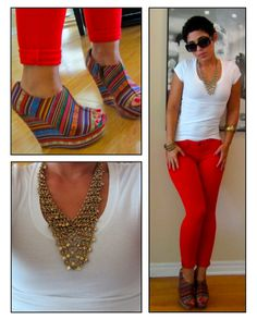 Jeans + tee + killer shoes + statement necklace = Perfection @mimigstyle