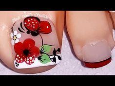 Modelo de uñas para pie/decoración de uñas PIE flor y mariposa/bella decoración de uñas PIE - YouTube Classy Nail Designs, Pink Nail Designs, Nail Polish Designs, Cute Pedicures, Manicure And Pedicure, Toe Nail Color, Nail Colors, Bright Summer Nails, Nail Polish Art