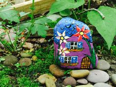 Miniature fairy garden cottage handpainted by Naturescowgirl, $7.99