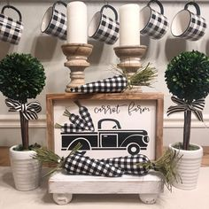 Flowers and buffalo check oh my! The truck is made with buffalo check fabric There are beautiful faux pink & white flowers and tiny faux succulents So cute! The sign is about Wood & paint Country Decor, Farmhouse Decor, Carrot Farm, Buffalo Check, Plaid Decor, Spring Sign, Plaid Christmas, Fall Plaid, Christmas Decorations